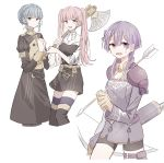 3girls arrow axe belt bernadetta_von_varley bike_shorts blue_hair braid brown_eyes closed_mouth crown_braid fire_emblem fire_emblem:_three_houses garreg_mach_monastery_uniform gloves grey_eyes hair_ornament highres hilda_valentine_goneril holding holding_arrow holding_axe long_hair long_sleeves marianne_von_edmund multiple_girls open_mouth pink_eyes pink_hair purple_hair quiver simple_background t_dlym thigh-highs thigh_strap twintails uniform white_background