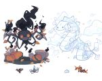 black_fire centiskorch chandelure charamells clouds creature fire flame floating full_body fusion gen_5_pokemon gen_6_pokemon gen_8_pokemon ghost grass grey_eyes looking_at_viewer multiple_fusions no_humans orange_eyes phantump pokemon pokemon_(creature) pumpkin simple_background snom tree_stump white_background yellow_eyes