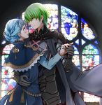 1boy 1girl aiguillette armor black_armor black_eyes black_gloves blue_dress blue_hair blush braid byleth_(fire_emblem) byleth_(fire_emblem)_(male) cape capelet closed_mouth commentary_request crown_braid dancing dress epaulettes eyebrows_visible_through_hair fire_emblem fire_emblem:_three_houses glass gloves green_eyes green_hair hands_on_another's_back hetero highres holding_hands looking_at_another marianne_von_edmund open_mouth oroshipon_zu short_hair smile stained_glass waltz_(dance)