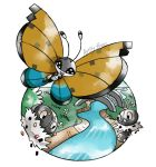 :d artsy-theo bridge bug butterfly creature flower flying gen_6_pokemon grass happy insect looking_at_viewer no_humans open_mouth outdoors pokemon pokemon_(creature) river scatterbug signature smile spewpa vivillon vivillon_(river)