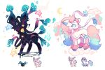 blue_eyes charamells clouds cosmog creature crescent_moon floating full_body fusion galarian_form galarian_ponyta gen_6_pokemon gen_7_pokemon gen_8_pokemon heart legendary_pokemon moon multiple_fusions no_humans pokemon pokemon_(creature) ribbon simple_background standing star star_(sky) sylveon unicorn white_background yellow_eyes