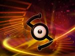 abstract_background black_eyes commentary creature english_commentary floating full_body gen_2_pokemon ilkcmp looking_at_viewer no_humans pokemon pokemon_(creature) solo unown