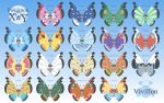 antennae blue_background bug butterfly character_name chart copyright_name creature english_text gen_6_pokemon gradient gradient_background highres insect looking_at_viewer namima_usagi no_humans pokemon pokemon_(creature) vivillon vivillon_(archipelago) vivillon_(continental) vivillon_(elegant) vivillon_(garden) vivillon_(high_plains) vivillon_(icy_snow) vivillon_(jungle) vivillon_(marine) vivillon_(meadow) vivillon_(modern) vivillon_(monsoon) vivillon_(ocean) vivillon_(polar) vivillon_(river) vivillon_(sandstorm) vivillon_(savanna) vivillon_(sun) vivillon_(tundra)