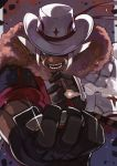 1boy animal_ears black_gloves blue_eyes cigar cowboy_hat dark_skin foreshortening fur_scarf gloves hair_ribbon hat hat_over_one_eye male_focus pixiv_fantasia pixiv_fantasia_age_of_starlight ribbon rumie sharp_teeth smoke teeth upper_body volca_steelblood whisker_markings white_hair white_headwear