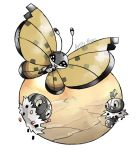 :d artsy-theo bug butterfly creature desert flying gen_6_pokemon happy insect looking_at_viewer no_humans open_mouth outdoors pokemon pokemon_(creature) sand scatterbug signature smile spewpa vivillon vivillon_(sandstorm)