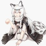 1girl animal_ear_fluff animal_ears arknights bangs black_cloak blush braid cloak dress fang grey_eyes hair_between_eyes hand_up headpiece highres jewelry kashiyarrm leopard_ears leopard_tail long_hair looking_at_viewer necklace paw_pose pramanix_(arknights) seiza simple_background sitting solo tail thigh-highs turtleneck_dress twin_braids watch white_background white_dress white_hair