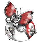 :d artsy-theo black_eyes bug butterfly creature flying full_body gen_6_pokemon happy insect looking_at_viewer no_humans open_mouth poke_ball poke_ball_(generic) pokemon pokemon_(creature) scatterbug signature smile spewpa vivillon vivillon_(poke_ball)