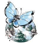 :d artsy-theo black_eyes bug butterfly creature flying full_body gen_6_pokemon happy insect looking_at_viewer no_humans open_mouth outdoors pine_tree pokemon pokemon_(creature) scatterbug signature smile snow snowing spewpa tree vivillon vivillon_(tundra)