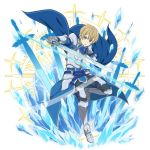 1boy armored_boots bangs blonde_hair blue_cape blue_eyes blue_rose_sword boots breastplate cape eugeo faulds full_body gauntlets grey_pants hair_between_eyes highres holding holding_sword holding_weapon knee_boots looking_at_viewer male_focus non-web_source official_art open_mouth pants shiny shiny_hair shoulder_armor solo spaulders standing standing_on_one_leg sword sword_art_online transparent_background weapon