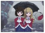 2girls black_hair black_umbrella blonde_hair bow brooch claire_francois cravat drill_hair hair_bow jewelry krill55 long_hair long_sleeves looking_at_another multiple_girls outdoors overcast rain red_bow rei_taylor short_hair smile standing thought_bubble umbrella watashi_no_oshi_wa_akuyaku_reijou yuri