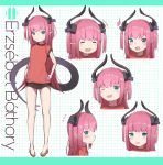 1girl :d ^_^ absurdres asymmetrical_horns blue_eyes closed_eyes corset curled_horns dragon_girl dragon_horns dragon_tail dress dress_flower elizabeth_bathory_(fate) elizabeth_bathory_(fate)_(all) expressions fate/extra fate/extra_ccc fate/grand_order fate_(series) flying_sweatdrops highres horns idol long_hair multiple_views open_mouth pink_hair plaid plaid_skirt pointy_ears sarkany_csont_landzsa skirt smile striped striped_headwear tail vertical-striped_dress vertical-striped_headwear vertical_stripes yomogi_uehara