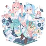 2girls absurdres black_bra blinds bra can candy chair christ_signboard computer_tower desk floppy_disk food guitar highres hoji_(hooooooooji1029) hood hoodie instrument keyboard_(computer) keyboard_(instrument) licking logo lollipop monitor multiple_girls music neko_hacker office_chair open_clothes open_hoodie original screen_light sera_(neko_hacker) sho_(neko_hacker) synthesizer underwear white_hoodie