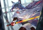 1girl animal_ear_fluff animal_ears arknights bangs black_hair black_shirt blurry blurry_background chinese_commentary closed_mouth commentary_request cowboy_shot fur-trimmed_jacket fur-trimmed_sleeves fur_trim glowing glowing_sword glowing_weapon hair_between_eyes highres holding holding_sword holding_weapon jacket light_particles long_hair looking_at_viewer orange_eyes pantyhose shirt shorts solo sword texas_(arknights) vardan weapon white_jacket white_shorts wolf_ears