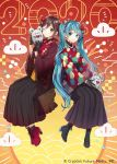 2020 2girls animal aqua_eyes aqua_hair black_gloves black_skirt boots brown_eyes brown_hair cloud_print clouds commentary crypton_future_media flower full_body gloves hair_flower hair_ornament hands_up hatsune_miku hatsune_miku_graphy_collection high_heel_boots high_heels holding holding_animal japanese_clothes jewelry kimono long_hair long_skirt looking_at_viewer meiko mouse multiple_girls necklace one_eye_closed pearl_necklace pleated_skirt red_kimono short_hair side-by-side sitting skirt smile tama_(songe) twintails very_long_hair vocaloid wide_sleeves