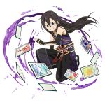 1boy androgynous bangs black_gloves black_hair elbow_gloves fingerless_gloves floating_hair full_body gloves grin hair_between_eyes highres kirito_(sao-ggo) long_hair looking_at_viewer male_focus non-web_source official_art one_knee otoko_no_ko pants purple_pants shiny shiny_hair smile solo sword_art_online transparent_background very_long_hair