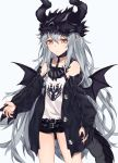 1girl belt black_jacket black_shorts brown_eyes collarbone dragon_wings expressionless eyebrows_visible_through_hair fingernails flat_chest g11_(girls_frontline) girls_frontline grey_hair highres jacket long_hair looking_at_viewer messy_hair nihnfinite8 pointy_ears red_nails sharp_fingernails shorts solo very_long_hair wavy_hair wings