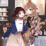 2girls :d braid cafe food futaribeya ice_cream jacket kawawa_sakurako long_hair multiple_girls open_mouth plaid plaid_shirt shirt skirt smile yamabuki_kasumi yukiko_(tesseract)