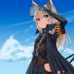 1girl ame. animal_ears arknights arm_up armband bangs black_coat black_pants blue_eyes blue_gloves blue_sky brown_shirt closed_mouth clouds coat commentary_request day elbow_gloves eyebrows_visible_through_hair gloves grani_(arknights) grey_hair hair_between_eyes highres long_hair looking_away open_clothes open_coat outdoors pants shirt short_sleeves sky smile solo very_long_hair visor wide_sleeves