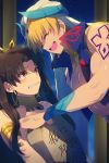 1boy 1girl anger_vein armlet bangs bare_shoulders black_bow blonde_hair blue_vest blush bow breasts brown_hair cis05 closed_eyes cropped_vest crying detached_collar earrings fate/grand_order fate_(series) gilgamesh gilgamesh_(caster)_(fate) hair_bow hoop_earrings ishtar_(fate)_(all) ishtar_(fate/grand_order) jewelry long_hair neck_ring parted_bangs red_eyes short_hair shoulder_tattoo smile stone_tablet tattoo tiara translated turban two_side_up vest