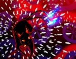 abstract abstract_background animal animal_ears bell black_cat blue_fire cat extra_tails fire glowing highres kaenbyou_rin kaenbyou_rin_(cat) multiple_tails no_humans orange_eyes ribbon spell_card subterranean_animism sunyup tail tail_ribbon touhou two_tails