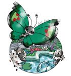 :d artsy-theo black_eyes bug butterfly creature flying fountain full_body gen_6_pokemon grass happy insect looking_at_viewer no_humans open_mouth outdoors pokemon pokemon_(creature) road scatterbug signature smile spewpa vivillon vivillon_(garden) water