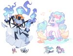 blue_fire chandelure charamells creature drifblim fire flame full_body fusion galarian_form galarian_ponyta gen_4_pokemon gen_5_pokemon gen_7_pokemon gen_8_pokemon horn knife multiple_fusions no_humans pokemon pokemon_(creature) primarina seashell shell simple_background standing unicorn white_background yellow_eyes