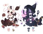 alcremie black_eyes bug candy charamells chocolate chocolate_heart closed_eyes creature food full_body fusion gen_2_pokemon gen_5_pokemon gen_7_pokemon gen_8_pokemon gothitelle hat hatterene heart mimikyu multiple_fusions no_humans pokemon pokemon_(creature) simple_background sleeping spider umbreon violet_eyes white_background witch_hat
