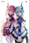 2girls arm_scrunchie asymmetrical_horns blue_hair dress gloves highres honkai_(series) honkai_impact_3rd intertwined_tails liliya_olenyeva long_hair mechanical_horns mechanical_tail mismatched_gloves multiple_girls open_clothes open_dress pink_hair rozaliya_olenyeva siblings tail thick_eyebrows twins xiguaa_mocha