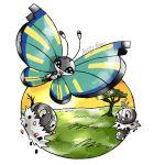 :d artsy-theo bug butterfly creature flying gen_6_pokemon grass happy insect looking_at_viewer no_humans open_mouth outdoors pokemon pokemon_(creature) scatterbug signature sky smile spewpa sun tree twilight vivillon vivillon_(savanna)