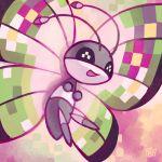 :d antennae black_eyes bug butterfly commentary creature english_commentary full_body gen_6_pokemon insect no_humans open_mouth pokemon pokemon_(creature) pombei signature smile solo vivillon vivillon_(fancy)