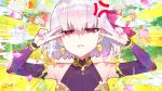 1girl anger_vein armlet bangs bare_shoulders bracelet breasts collar commentary_request detached_sleeves double_v dress earrings emotional_engine_-_full_drive fate/grand_order fate_(series) grimace hair_ribbon highres jewelry kama_(fate/grand_order) looking_at_viewer metal_collar parody petals pink_ribbon purple_dress purple_sleeves red_eyes redrop ribbon ring shaded_face short_hair silver_hair small_breasts solo sparkle v