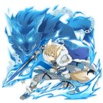 1boy animal_ears bangs blonde_hair blue_eyes blue_gloves breastplate chain closed_mouth eugeo gloves grey_pants hair_between_eyes highres holding holding_sword holding_weapon looking_at_viewer male_focus non-web_source official_art one_knee pants shiny shiny_hair shoulder_armor solo sword sword_art_online torn_clothes torn_pants transparent_background weapon werewolf wolf wolf_ears