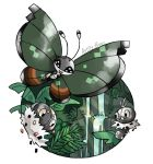 :d artsy-theo bug butterfly creature flying gen_6_pokemon happy insect looking_at_viewer no_humans open_mouth outdoors pokemon pokemon_(creature) rock scatterbug signature smile spewpa tree vivillon vivillon_(jungle) water waterfall