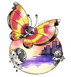 :d artsy-theo bug building butterfly city creature flying gen_6_pokemon happy insect looking_at_viewer no_humans ocean open_mouth outdoors pokemon pokemon_(creature) scatterbug signature sky smile spewpa twilight vivillon vivillon_(sun)