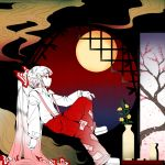 architecture bamboo bangs bow cherry_blossom_print choko_(cup) commentary cup east_asian_architecture floral_print flower fujiwara_no_mokou full_moon hair_bow hime_cut htangt long_hair looking_away moon pants red_eyes red_pants sidelocks sitting smoke suspenders tokkuri touhou vase very_long_hair white_hair window