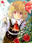 1girl absurdres black_skirt black_vest blonde_hair commentary_request cowboy_shot flower fork frills hair_ribbon highres holding holding_fork leaning_forward long_sleeves looking_at_viewer marker_(medium) petals red_eyes red_neckwear red_ribbon ribbon rose rose_petals rumia shirt short_hair skirt solo thorns touhou traditional_media vest white_shirt yuzugoori