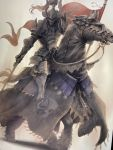 1boy animal armor flag full_armor gauntlets greaves helmet highres holding holding_flag holding_sword holding_weapon horse nishi original pauldrons riding sword weapon