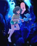 1girl :o air_bubble bangs bare_legs barefoot black_hair blue_eyes bubble collarbone commentary_request corsola floral_print freediving gen_1_pokemon gen_2_pokemon gen_3_pokemon gen_4_pokemon green_shorts highres horsea luvdisc mantyke mizuki_(pokemon) mk_(mikka) pokemon pokemon_(creature) pokemon_(game) pokemon_sm shellder shirt short_hair short_shorts short_sleeves shorts swept_bangs swimming t-shirt tentacool tied_shirt underwater
