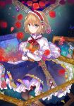 1girl alice_margatroid bangs blonde_hair blue_dress blue_eyes bow capelet commentary_request dress flower frills grimoire_of_alice hairband highres kazu_(muchuukai) painting_(object) petals rose short_hair solo touhou white_capelet