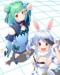 2girls animal_ears braid breasts bug butterfly carrot_hair_ornament commentary_request detached_sleeves double_bun flat_chest food_themed_hair_ornament gloves green_hair hair_ornament hair_ribbon highres hololive insect kazuyan long_hair looking_at_viewer multiple_girls open_mouth rabbit_ears red_eyes ribbon short_hair small_breasts twin_braids uruha_rushia usada_pekora v virtual_youtuber youtube