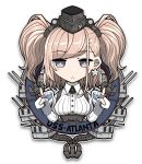 1girl :o anchor anchor_hair_ornament atlanta_(kantai_collection) bangs blush boushi-ya breasts brown_hair character_name commentary earrings emblem eyebrows_visible_through_hair garrison_cap gloves grey_eyes hair_ornament hat headgear high-waist_skirt index_finger_raised jewelry kantai_collection long_hair long_sleeves looking_at_viewer open_mouth partly_fingerless_gloves rigging simple_background single_earring skirt solo star star_earrings two_side_up upper_body white_background
