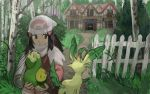 1girl bag beanie black_eyes black_hair budew commentary_request creature eterna_forest fence forest gen_4_pokemon grass hair_ornament hat hikari_(pokemon) holding holding_pokemon house leafeon long_hair minahamu nature old_chateau_(pokemon) pokemon pokemon_(creature) pokemon_(game) pokemon_dppt pokemon_platinum scarf white_headwear white_scarf