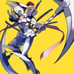 1girl animal_ears bodysuit breastplate breasts commentary_request crescent dianamon digimon face_mask floating floating_object full_body gauntlets hair_between_eyes helmet high_heels highres holding holding_scythe large_breasts mask meipura pink_scarf purple_bodysuit rabbit_ears scarf scythe shading shin_guards shoulder_armor skirt solo violet_eyes white_armor white_legwear white_skirt yellow_background