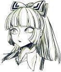 1girl bangs bow face fujiwara_no_mokou greyscale hair_bow long_hair monochrome open_mouth portrait sketch solo space_jin suspenders touhou