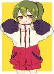 1girl fang green_eyes green_hair high_ponytail igarashi_futaba_(shiromanta) jacket long_sleeves looking_at_viewer medium_hair open_mouth riku_(ururi7610) senpai_ga_uzai_kouhai_no_hanashi shoes sleeves_past_wrists sneakers solo zipper zipper_pull_tab