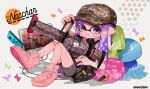 .96_gal_(splatoon) 1girl adjusting_clothes adjusting_hat bangs baseball_cap bean_bag_chair bike_shorts black_dress black_shorts blunt_bangs blunt_ends camouflage_headwear cellphone clothes_writing cross-laced_footwear domino_mask dress grey_headwear hat holding holding_weapon inkling inkling_(language) jellyfish_(splatoon) kyuurisoda looking_at_viewer lying mask medium_hair monitor nintendo nintendo_switch on_back open_mouth phone pillow pink_footwear pointy_ears purple_hair shirt shoes short_dress short_sleeves shorts single_vertical_stripe smartphone smile sneakers solo splatoon_(series) splatoon_2 squid tentacle_hair violet_eyes weapon white_shirt