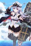 1girl absurdres aircraft arm_up azur_lane belt black_coat black_legwear black_skirt breasts clouds coat collared_shirt commentary_request enterprise_(azur_lane) flight_deck gold_trim hand_on_headwear hat highres kano_(mgnnew12) leg_up long_hair looking_at_viewer machinery medium_breasts miniskirt motion_blur necktie ocean off_shoulder open_clothes open_coat outstretched_arm peaked_cap shirt silver_hair skirt sky sleeveless sleeveless_shirt smile solo thigh-highs violet_eyes water white_shirt zettai_ryouiki