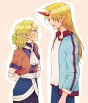1boy 1girl ? arm_warmers arms_behind_back blonde_hair blue_jacket blush box commentary eye_contact fang genderswap genderswap_(ftm) gift gift_box green_hair height_difference highres horn hoshiguma_yuugi jacket long_hair looking_at_another mito_(mo96g) mizuhashi_parsee neckerchief open_clothes open_jacket pointy_ears red_eyes short_sleeves sleeves_rolled_up star touhou track_jacket valentine white_neckwear