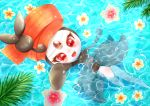 1girl afloat aije creature eyelashes flower gen_5_pokemon highres looking_at_viewer meloetta meloetta_(pirouette) no_humans partially_submerged pokemon pokemon_(creature) red_eyes smile solo