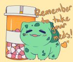 blush bulbacactus bulbasaur claws closed_eyes commentary creature english_commentary english_text full_body gen_1_pokemon heart medicine no_humans open_mouth pill pokemon pokemon_(creature) simple_background solo standing text_focus yellow_background
